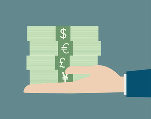 business hand holding stack money currency concept vector illust