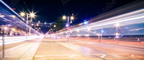 Leinwandbild Motiv Night traffic in the city
