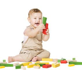 Child Playing Toys Blocks. Children Development Concept. Happy