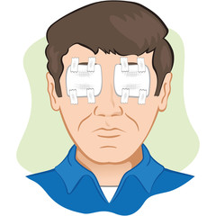 Sterile gauze in irritated eyes and wounded, front face
