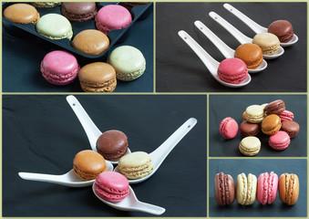 Macarons de différentes couleurs présentés sur fond ardoise