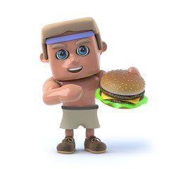 3d Bodybuilder eats a burger