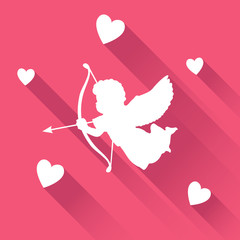 Valentine card with silhouette of angel cupid with arrow, vector