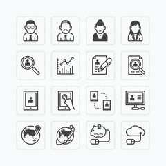 Vector flat icons set of business finance technology outline con