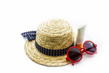 Woven hat, red sunglasses with body lotion.
