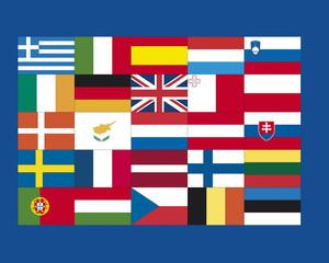 Vielfalt der europäischen Flaggen, close up
