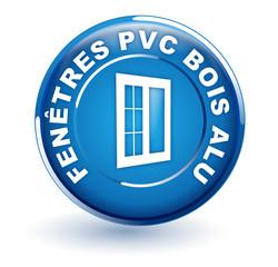 fenêtres pvc bois alu sur bouton bleu