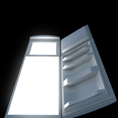 Open refrigerator with lights inside. Bottom view.