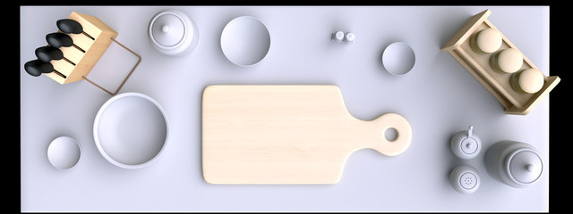 Kitchen table with wooden cutting board