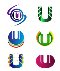 Set Of Alphabet Symbols And Elements Of Letter U, such a logo