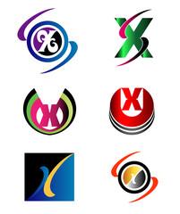 Letter X logo Icons Set Vector Graphic Design