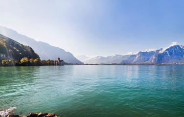 Panoramic view of Geneva lake and Chillion castle, Switzerland
