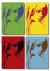 Portrait pop art de trois quart d'une femme