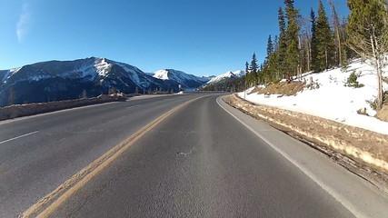 POV hyperlapse through a mountain highway