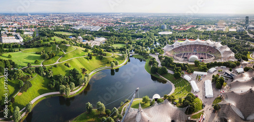 Leinwanddruck Bild Panoramic view at Stadium of the Olympiapark in Munich,  Germany