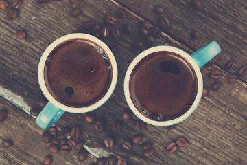 two cups of fresh coffee