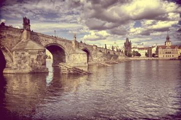 Vintage view of Prague