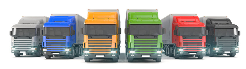 six colorful cargo trucks parked in a row
