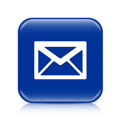 Dark blue envelope button icon with reflection