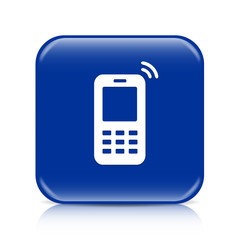 Dark blue mobile phone button icon with reflection