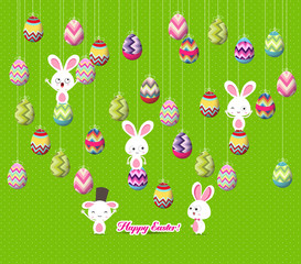easter eggs and bunny funny hanging on the wire