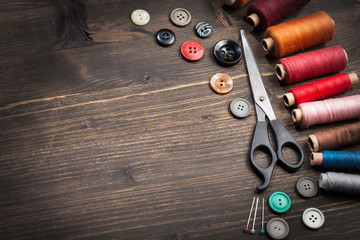 Vintage set of threads, scissors and buttons