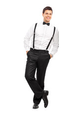 Handsome guy with suspenders and bow-tie