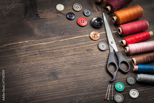 canvas print picture Vintage set of threads, scissors and buttons