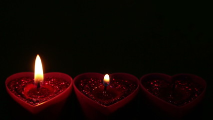 Valentines Hearts Candle against black background