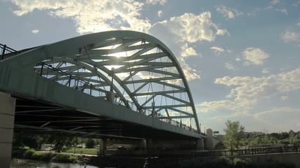 Bridge in Denver Colorado with sun poking through