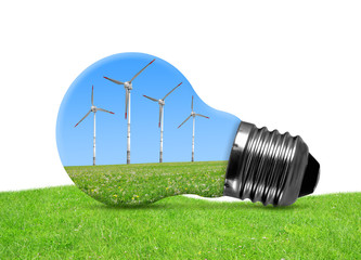Eco bulb with wind turbines on white