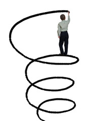 businessman draws a spiral line