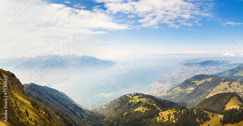 Panorama. Alps and Montreux from the Rochers de Naye,Switzerland © fischers