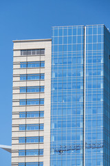 Modern Blue Glass and Concrete Towers in Denver