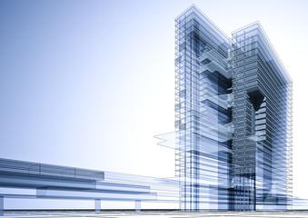 3D Bürogebäude blau