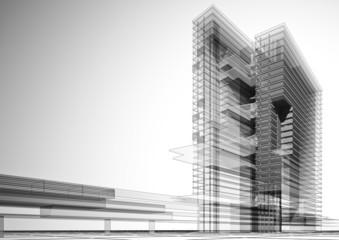 3D Bürogebäude grau