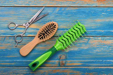 .professional scissors and two combs