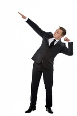 Businessman in Bolt Pose. Direction to the purposes conception.