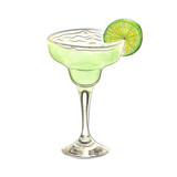 Fototapety Watercolor doodle margarita cocktail