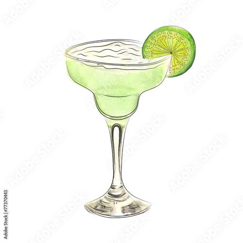 Fototapeta Watercolor doodle margarita cocktail