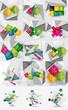 Mega set of color paper infographics