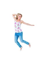 Excited blonde in casual clothes leaning