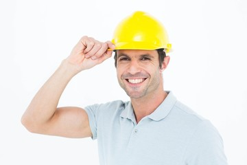 Architect wearing hardhat over white background