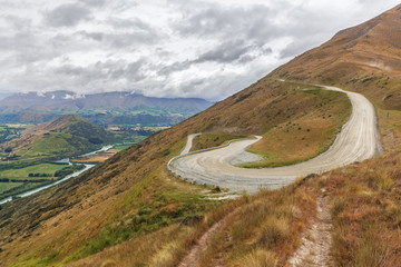 Winding road uphill to the Remarkables Ski Area with beautiu vie