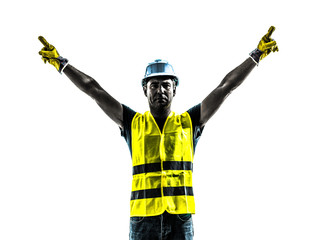 construction worker signaling up silhouette