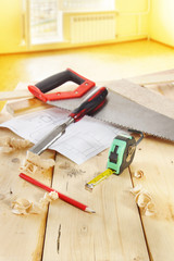 Still life with carpenter work tools in the room