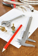 Working tools and spare parts for water supply