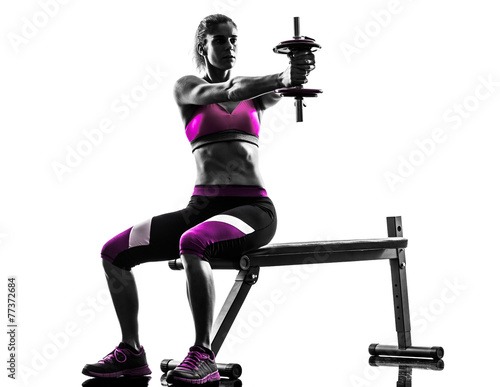 woman fitness exercises weights body building silhouette