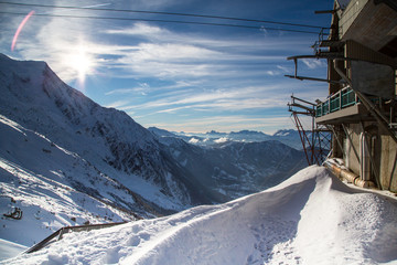 The mountain view from the station of the Aiguille du Midi in
