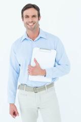 Confident supervisor holding clipboard